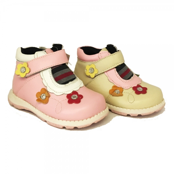 08608 Baby leather shoes 19-24 pink and beige