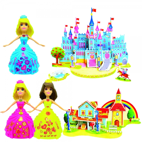 805489-2 Dancing Katie and magical 3D castle and Rainbow house
