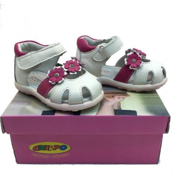 Кожени сандали-723860-2 №20-24 бял/лилав