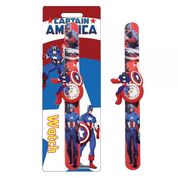 298842 Силиконов часовник-Капитан Америка Червен