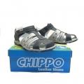 823820-3 Children leather sandal 31-36 blue/grey